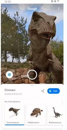 Google现在可让您通过增强现实技术看到现实世界中的恐龙
