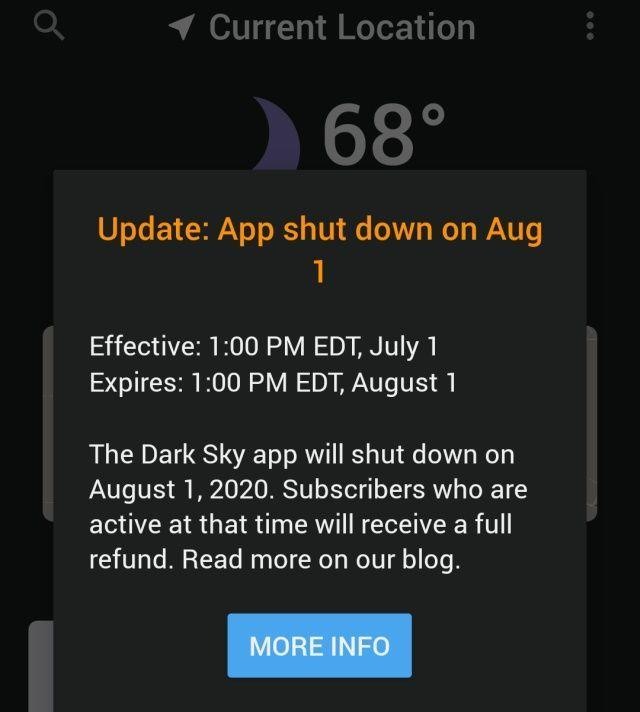 Android用户可以获得一个月的Dark Sky天气更新