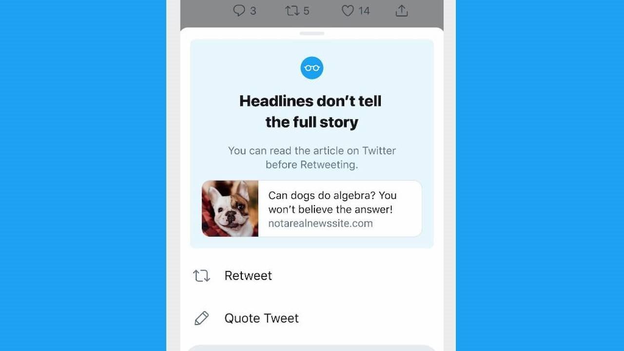 iOS上的Twitter现在会提示用户阅读文章然后再分享