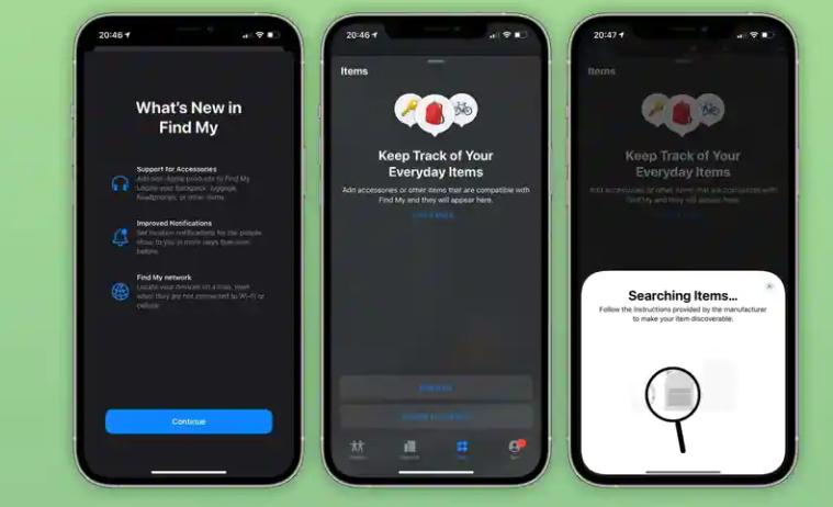 """iOS 14.5 beta 3在""""查找我""""应用程序中引入了新的""""项目""""标签"""
