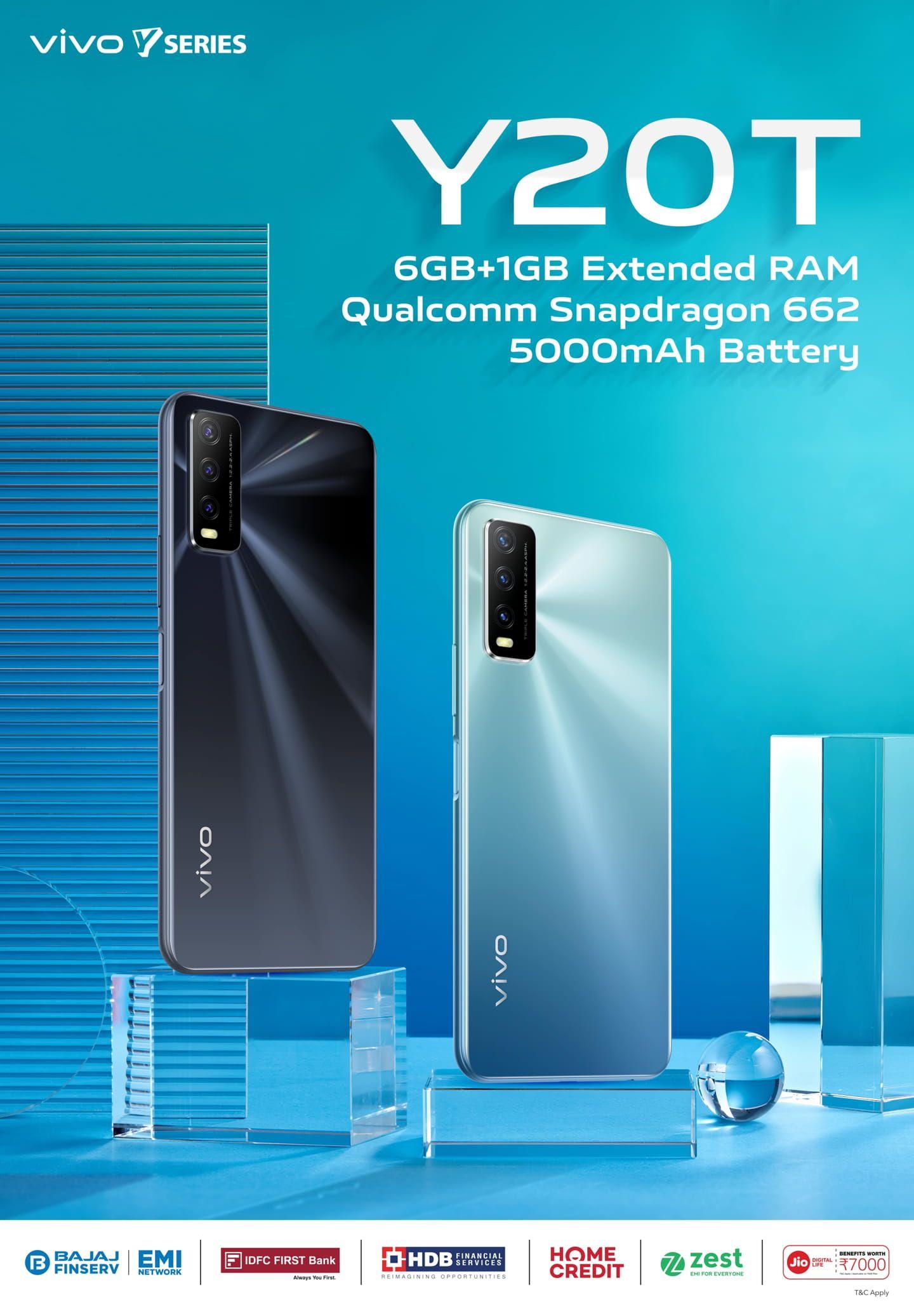 Vivo Y20T 支持扩展 RAM 2.0,在印度推出骁龙 662 SoC:价格、规格